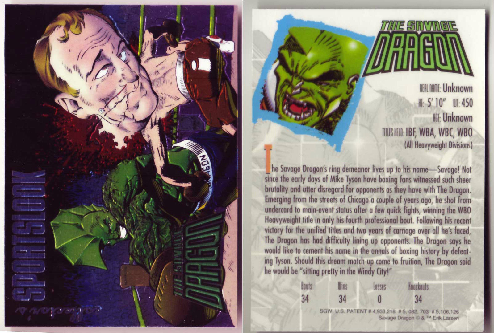 Collector's Sportslook Savage Dragon Card